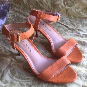 Juliann Hough Sole Society Orange Leather Sandals